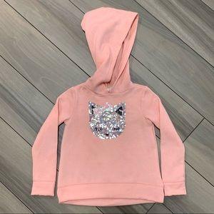 Girl's Sequin Kitty Cat Pink Hooded Sweatshirt 3T